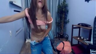 Perfect teen in jeans has a strong orgasm on her chair
